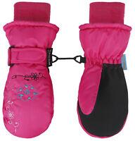 Girls Kids Waterproof Warm Winter Ski Snow Gloves Thinsulate Flower Mittens