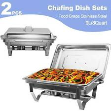 2Pack Chafer Chafing Dish Sets Rectangular Dish Catering Pan Stainless Steel