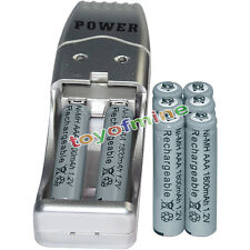8x AAA battery batteries Bulk Rechargeable NI-MH 1800mAh 1.2V Gra + USB Charger
