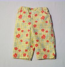 "Gymboree ""Leapin' Lily Pads"" Green White Gingham Check Floral Pants, 18-24 mos."