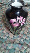 Japanese Shippo Yaki Cloisonne Mini Vase with Pink Flowers on Green Ground