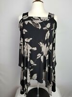 CLARA SUN WOO Cold Shoulder 3/4 Sleeve Top Tunic Floral Print Women's Size S