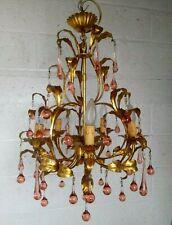 Large Vintage French Gilded Tole Leaves Chandelier Pink/Orange Glass Drops