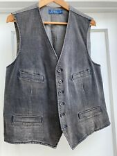 44R Polo Ralph Lauren Mens Soft Black faded Denim Vest /  Waistcoat NWT