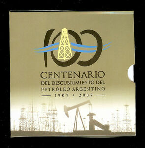 ARGENTINA BLISTER COIN 2 Pesos, KM145 UNC 2007 - Centennial of Oil in Argentina