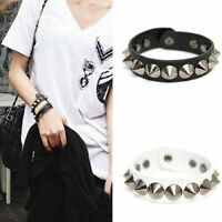 Punk Gothic Leather Rivet Stud Spike Bracelet Cuff Wristband Gift Him UK A352