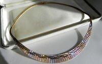 ✨PRISTINE✨ 22g sterling silver 925 tri colore Italy Omega choker collar necklace