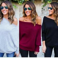 Ladies Sexy Off The Shoulder Chunky Knit Oversized Tunic Shirts Jumper Tops IT