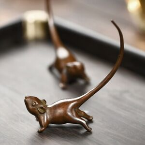 Handmade Bronze Carved Lovely Mouse Figure Long-tailed Rat Statue Tea Pet