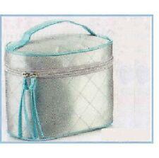 TOILETRIES-Vanity BAG 20cm SILVER-BLUE(2.99p ea)HANDLE+Zip.TRAVEL/Gift? Avon.NEW