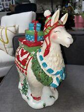 Blue Sky Clayworks~Christmas White Llama animal Cookie Jar w/ Wreath & Presents
