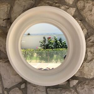 Vintage Mid Century Modern white circle round acrylic simple bathroom mirror VTG