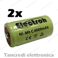 2x Pila Batteria ricaricabile Ni-Mh NiMh 1/2 mezza torcia C 4000mAh 50x26mm pin