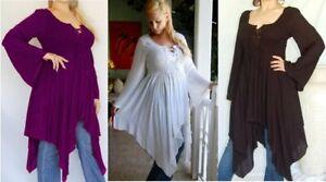 Boho chic pixie peasant blouse top 12 14 16 18 20 Black or Pagan Purple or White