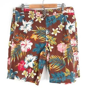 Men's Size Large Board Swim Shorts Brown Floral Pockets Beach Pool Swimming
