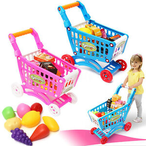 LARGE Kids Childrens Shopping Trolley Cart Role Play Set Toy Plastic Fruit Food
