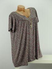 Shirt mit Kette Top Tunika Bluse Lagenlook Gr. 46 - 54 one size taupe geblümt w