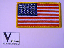 US USA American Flag patch GOLD Border HOOK style Back  **BUY 2 get 1 FREE**