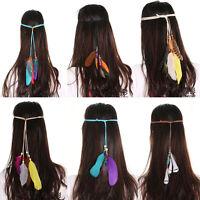 Women Boho Feather Tassels Headband Hippie Weave Hairband Hair Accessory