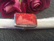 925 SILVER RING -CHUNKY RECTANGLE CORAL RED WITH BRAID TRIM -ADJUSTABLE SIZE