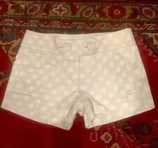 J.Crew CityFit Shorts 100% Cotton Beige and White Polka Dot Shorts Size 0 NWOT
