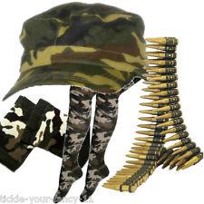 Da Donna Esercito Soldato KIT PAC BULLET Cintura GILET IMBOTTITI GEMELLI costume MIMETICO divertente