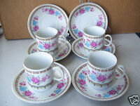 Lot of 4 Cups & 6 Saucers Demitasse Espresso cup & Saucer All In Good Condition