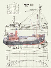 Model Boats Plans 1/32 Scale Clyde Puffer Radio Control Full Size Printed Plans