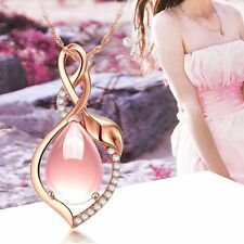 Delicate Lady Gift Rose Gold Plated Jewelry Pink Opal Stone Pendant Necklace