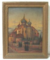 RUSSIAN ORTHODOX CHURCH ANTIQUE FINE  OIL PAINTING ON CANVAS, signed, date 1928