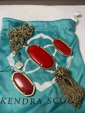 "Kendra Scott Rayne 30"" Long Pendant Necklace Earring Set Red"