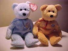 Retired Beanie Babies 2 Decade Bears Blue/Yellow 10 Years  DOB 1/22/2003