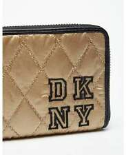 DKNY Collegiate Embroidered Quilted Gold With Black Leather Trim Zip Purse -NEW