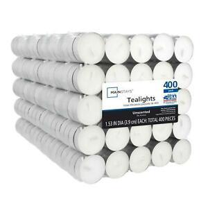Tealight Candles White Unscented Indoor Outdoor 400 Count Will Last For 3-5 Hrs