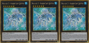 YUGIOH 3x Number 21: Frozen Lady Justice PGL2-EN018 Gold Rare 1st Edition