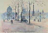 PARIS PLACE. AQUARELLE SUR PAPIER. SIGNÉ A. GUERIN. 1943