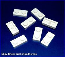 Lego 8 x Platte (1 x 2) - 3023 weiß - White Plate - NEU / NEW