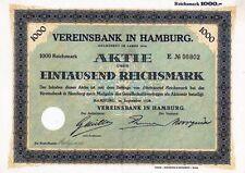 Banca ASSOCIAZIONE ad Amburgo banca storica azione ordinaria 1928 HypoVereinsbank Unicredito