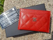 New Chanel Card Case Holder Quilted Caviar Red SHW 2014 Authenticity Card Box
