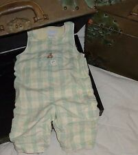 Jacadi  Ivory Beige Green Plaid Teddy Bear Overall Pants 6 months 67 3-6