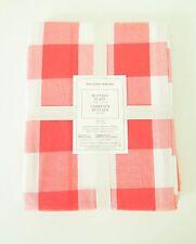 Williams Sonoma Buffalo Plaid 100% Cotton Tablecloth Coral 70 X 108 NEW