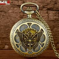 Bronze Butterfly Figure Vintage Pocket Watch Pendant Necklace Chain Retro Gift