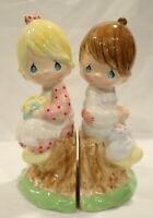 Precious Moments Style Little Boy & Girl Sitting on Stump Salt & Pepper Shakers