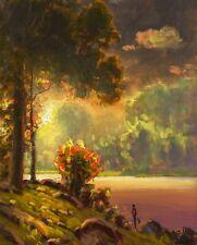 MAX COLE art oil painting landscape signed old antique vintage dutch sun 4490