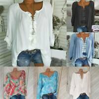 Women V Neck Blouse Loose T Shirt Long Sleeve Casual Tunic Tops Summer Plus Size