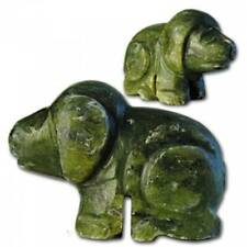 hand craved jade dog figurine green asian statues china gift boxed