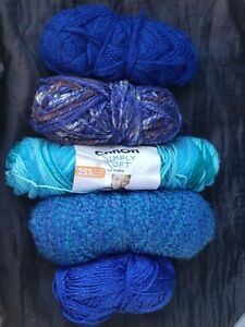 Lot 1 +lbs Mixed Scrap Yarn Crafting Includes Grace Patron All Blue Shades