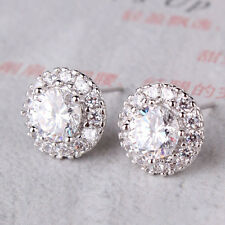 Pleasing nice looking 18k white gold filled round white topaz stud earring