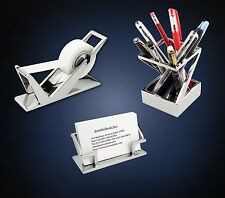 ArtsOnDesk Modern Art Desk Accessories 3pc Set Mr1 Stainless Steel Mirror Polish