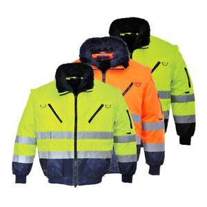 PORTWEST Hi Vis 3 in 1 Pilot Jacket Bomber Fur Lined Winter Work Wear PJ50